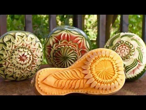 Sculptures sur Melon d'Eau, Pomme et Courge Butternut / Vidéo, Cuisine, Technique