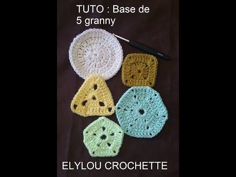 TUTO crochet :  5 formes de base de granny : rond, carré, triangle, polygone, pentagone