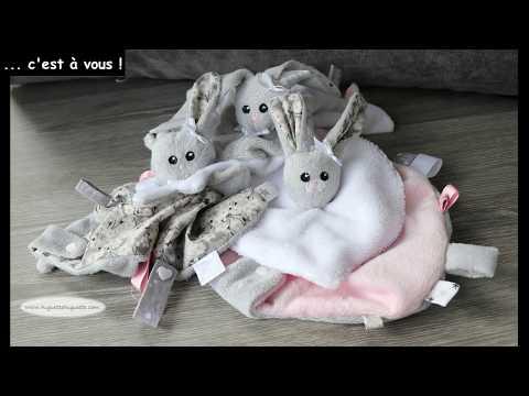 les tidoudous : tuto couture et patron gratuit de doudou plat chat, ours, ou lapin