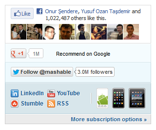 Mashable's social networks widget
