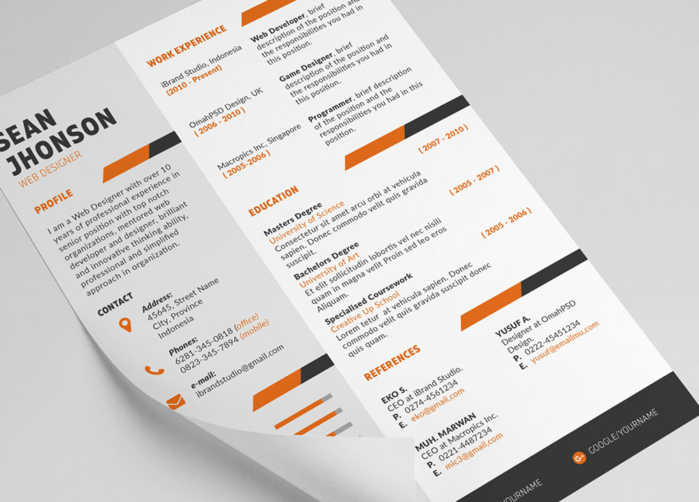 Free Ziper Resume Template & Cover Letter (PSD)