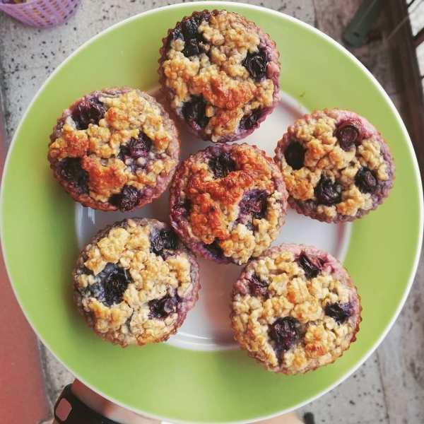 muffin alla banana fit mirtilli colazione ricetta sana