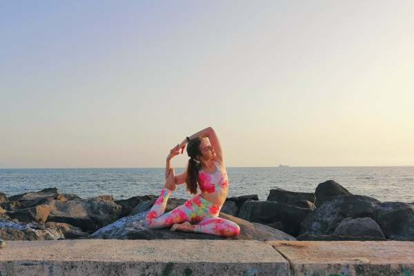 mermaid pose yoga girl pineapple clothing