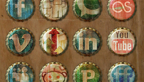 Free Social Media Icons: Old Bottle Crowns Icon Set