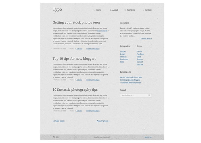 19. Create a Typography Based Blog Layout in HTML5