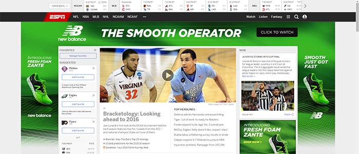 ESPN New Website Design