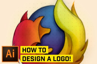 DESIGN Professional Logos from a SKETCH! (Firefox Logo in Illustrator!)