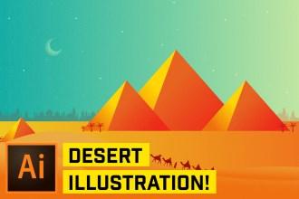 Create Desert Pyramid Scene Illustration in Adobe Illustrator CC