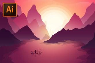 Moody Vietnam Sunset Illustration - Illustrator Tutorial