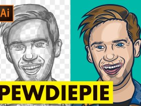 Pewdiepie illustration in Adobe Illustrator