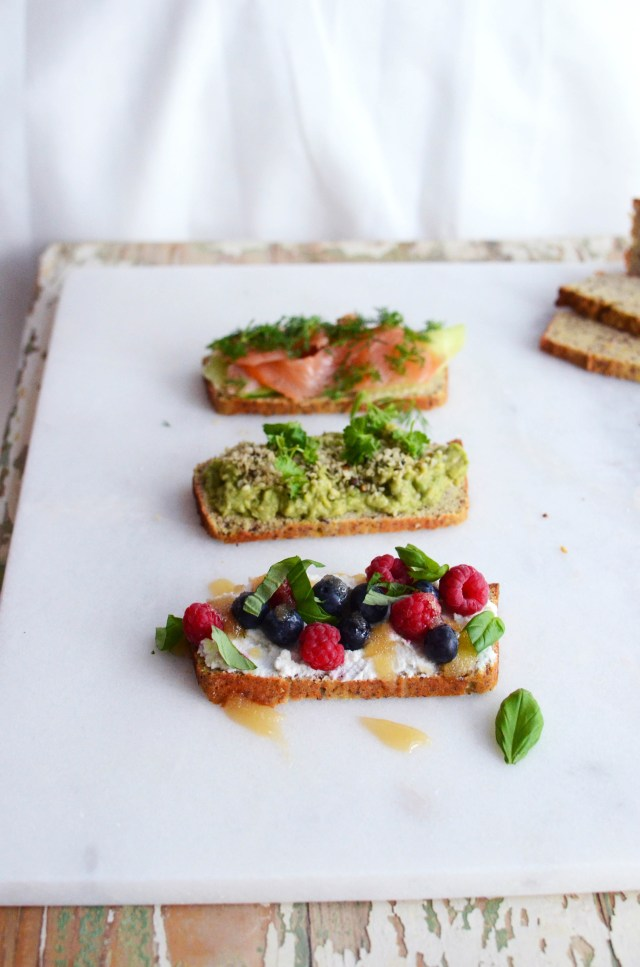 grain free bread with toppings