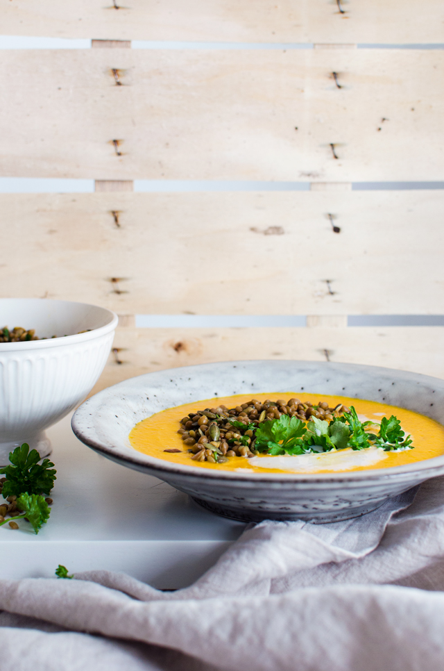 carrot curry soup with lentils & herbs | tuulia talvio