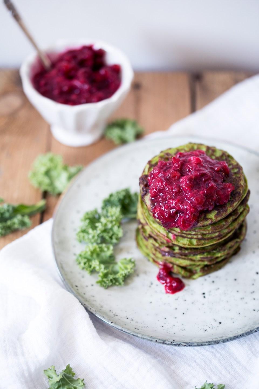 kale & zucchini pancakes w/ lingonberry jam (gluten + dairy free)