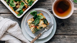 Savory Oven Pancake w/ Greens & Feta