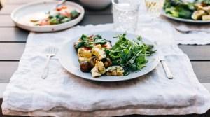 Grilled Portobello Pizzas & Vegetable Skewers w/ Lemon & Basil Oil