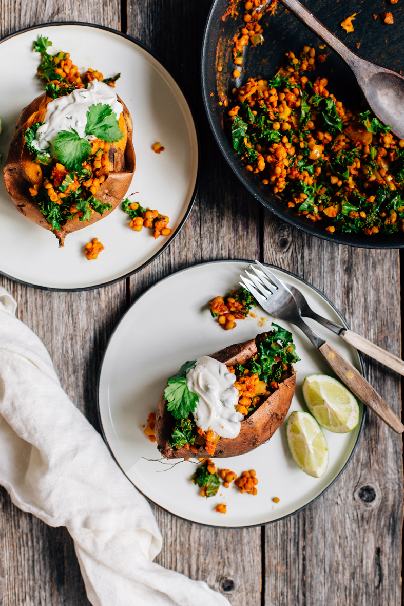 Lentil Stuffed Sweet Potatoes | VEGMEALS