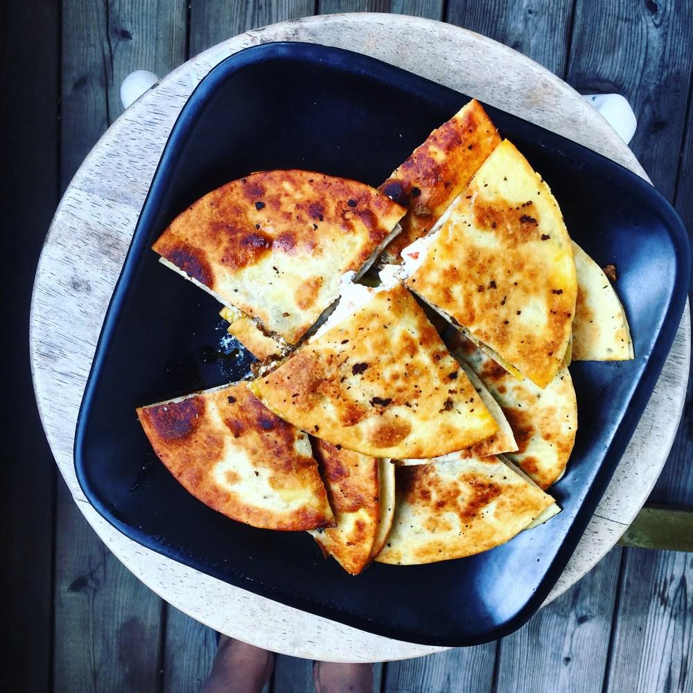 quesadillas med vegofärs kryddad med garam masala
