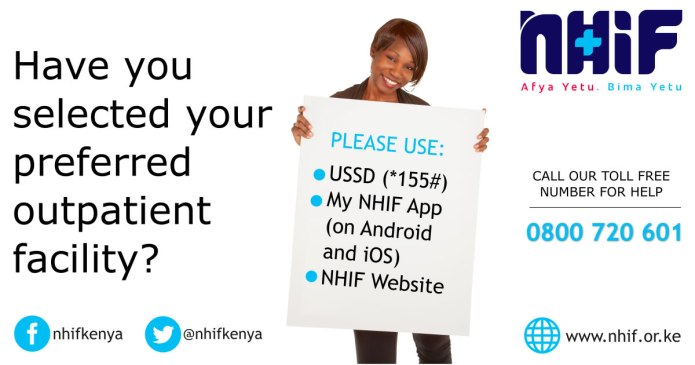 How to select or change your preferred NHIF outpatient facility using a mobile phone