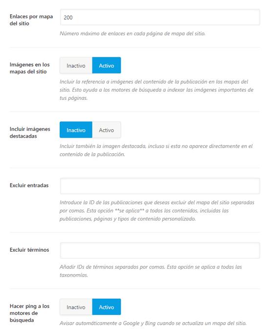 paramètres du plan du site