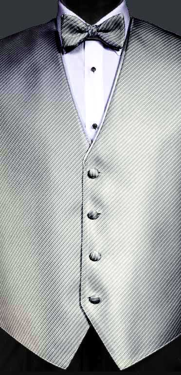 Bali Silver Metallic Synergy vest with matching bow tie