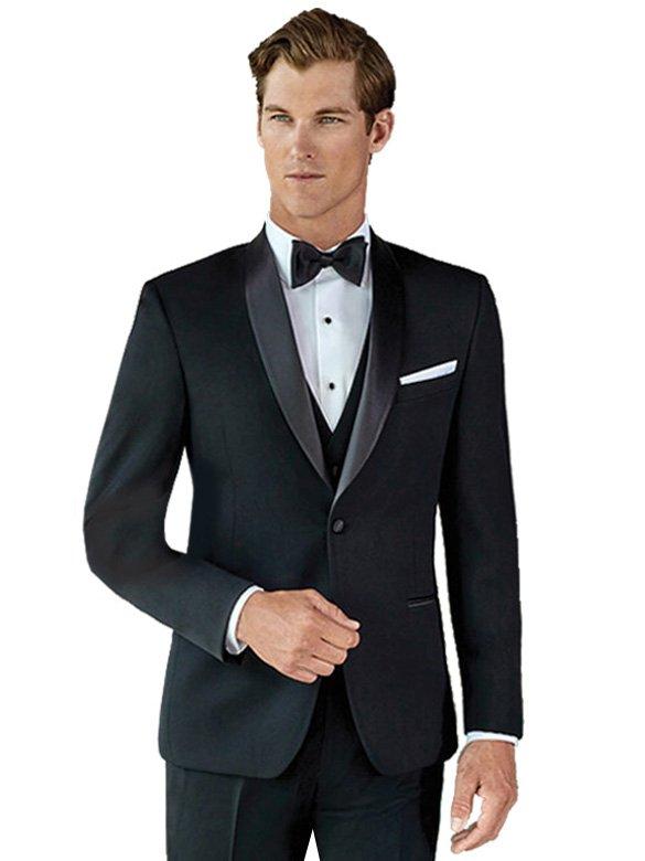Black Aiden Tuxedo Shawl Collar Ultra Fit Tux