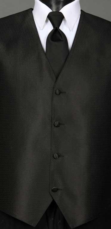 Black Devon Vest with Black Windsor tie