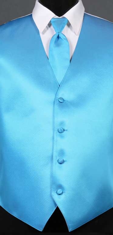 Blue Ice simply solid vest with matching Windsor tie