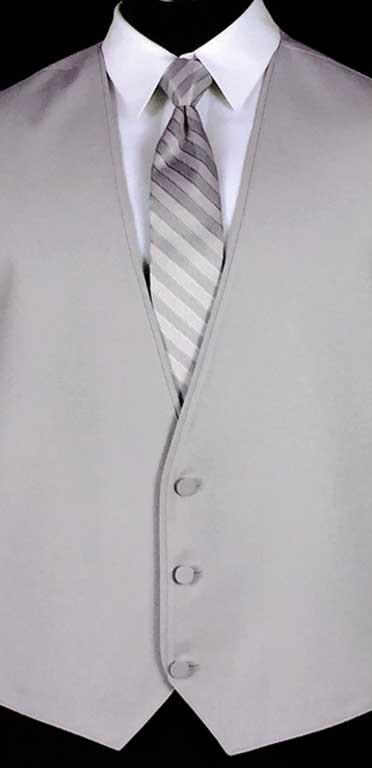 Cement Bartlett Vest with cement Stripe Windsor Tie