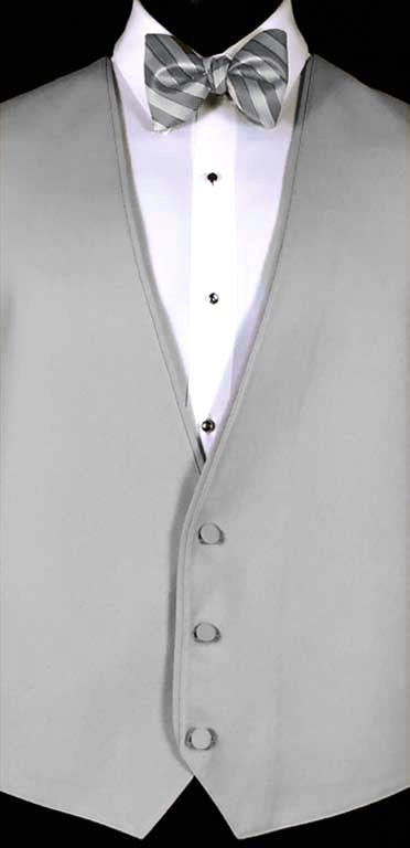 Cement Bartlett Vest with Stripe Bow Tie