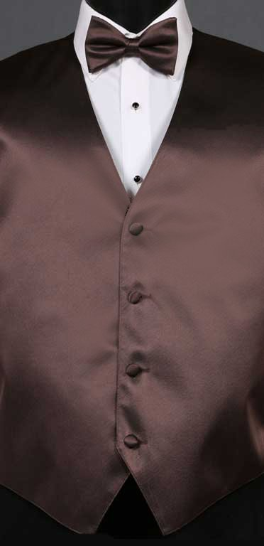 Chocolate simply solid vest with matching bow tie