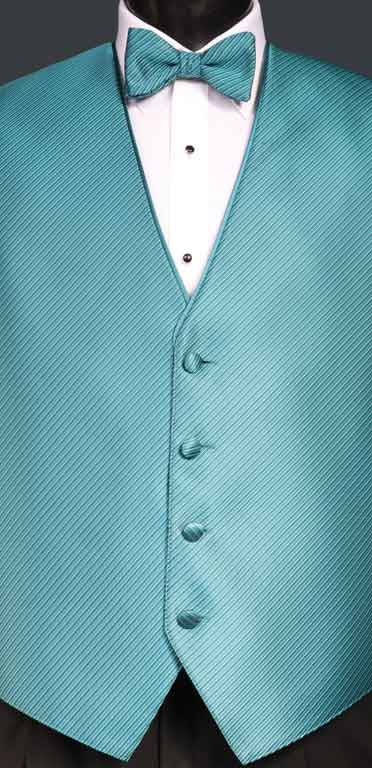 Dark Teal Metallic Synergy Vest with matching bow tie