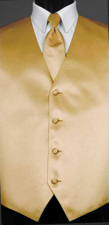 Golden Simply Solid Vest with matching Windsor tie