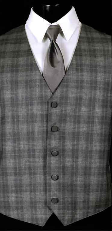 Grey Plaid Sterling Vest with solid Grey Windsor tie
