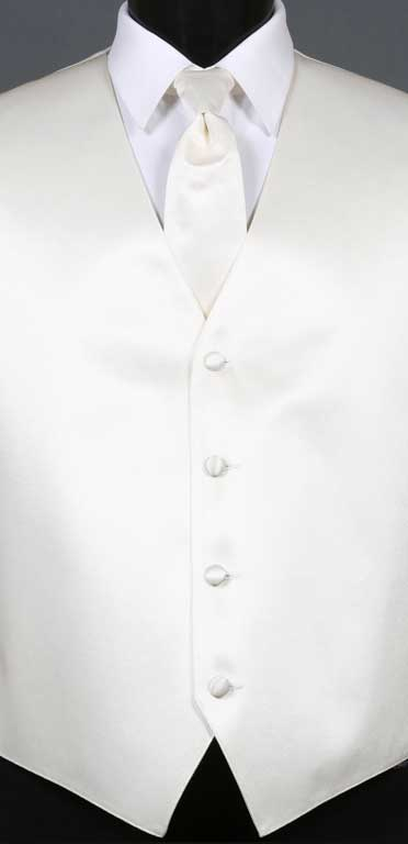 Ivory simply solid vest with matching Windsor tie