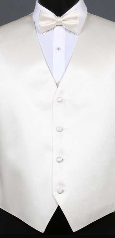 Ivory simply solid vest with matching bow tie