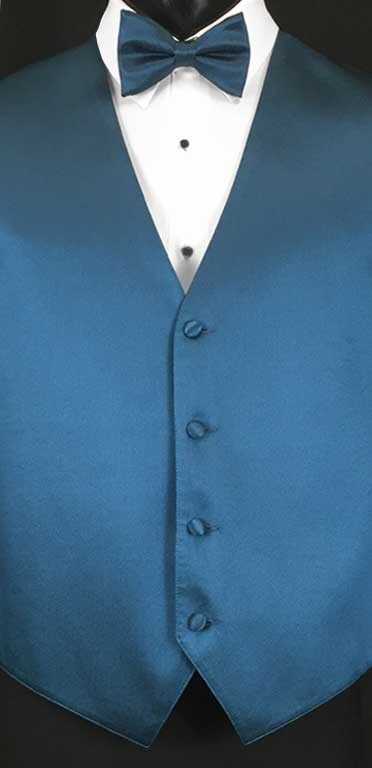 Ocean Blue simply solid vest with matching bow tie