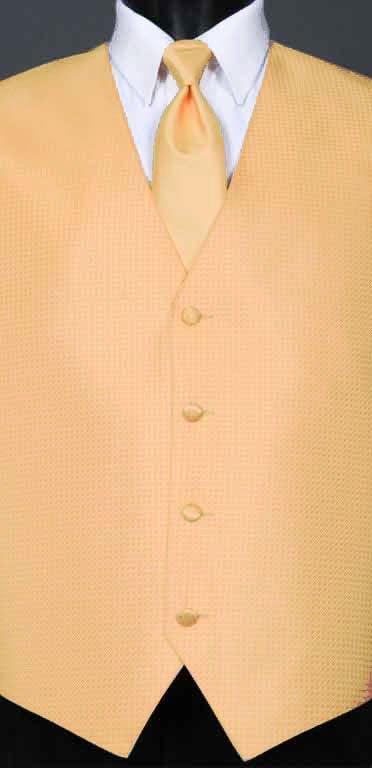Peach Devon vest with matching Windsor tie