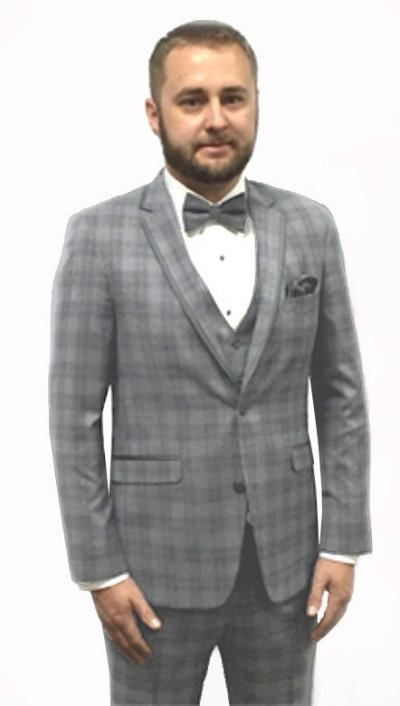 Grey plaid Sterling tuxedo by Ike Behar