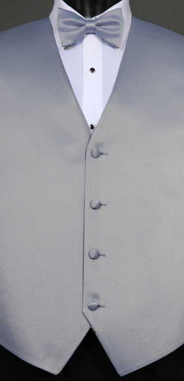Platinum simply solid vest with matching bow tie