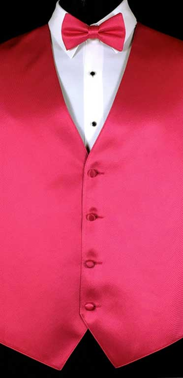 Raspberry simple solid vest with matching bow tie