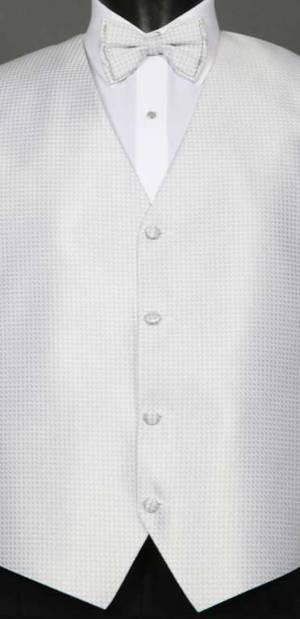 Silver Devon vest with matching bow tie