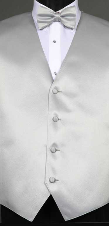 Silver simply solid vest with matching bow tie