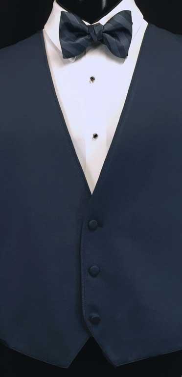 Slate Bartlett Vest with Slate Striped Bow Tie