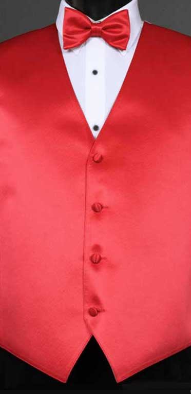 Strawberry simply solid vest with matching bow tie