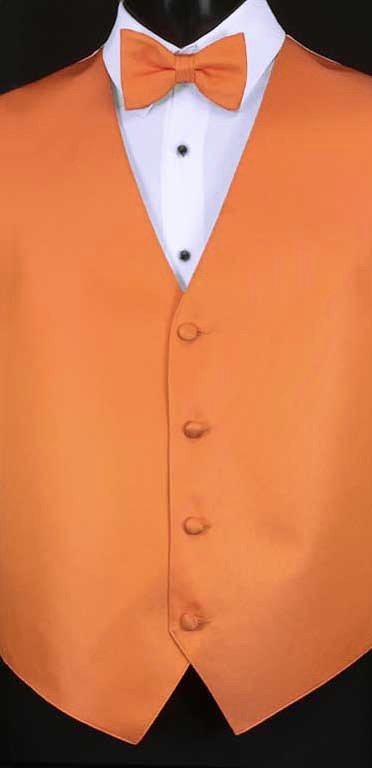 Tangerine simply solid vest with matching bow tie