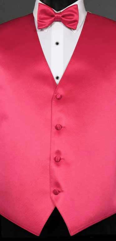Watermelon simply solid vest with matching bow tie