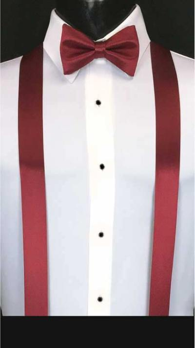 Apple Red suspenders with matching bow tie