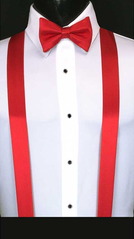 Ruby simply solid suspenders with matching bow tie