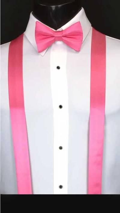 Bubblegum simply solid suspenders shown with matching bow tie and cummerbund