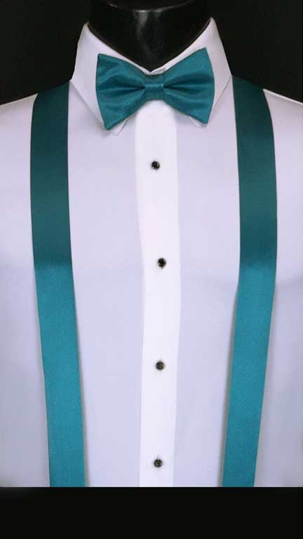 Oasis simply solid suspenders with matching bow tie